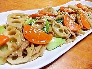 蓮根・青梗菜の炒め物